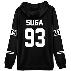 ShallGood Mujer Otoño Moda BTS Bangtan Fans Sudaderas con Capucha Manga Larga Suéter Capa Hoodies Pullover Outwear Encapuchado Tops SUGA-93 Blanco ES 40