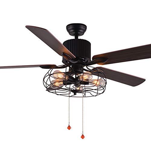 RZZX Luz moderna industrial del ventilador de techo giratorio Techo LED inteligente...