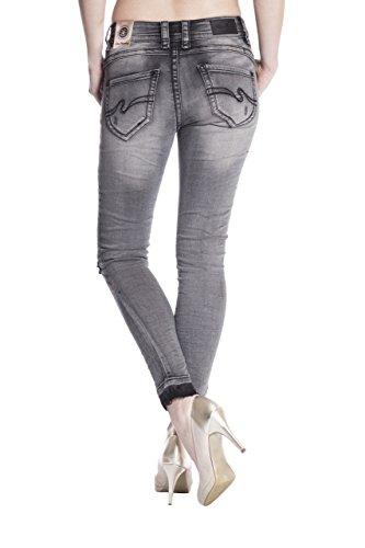 Blue Monkey Damen Cropped Jeans Laura-3703-B Grau Grau