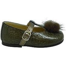 Clarys 1087 - Zapatos infantil niña coco, color bronce metalik picaro nogal
