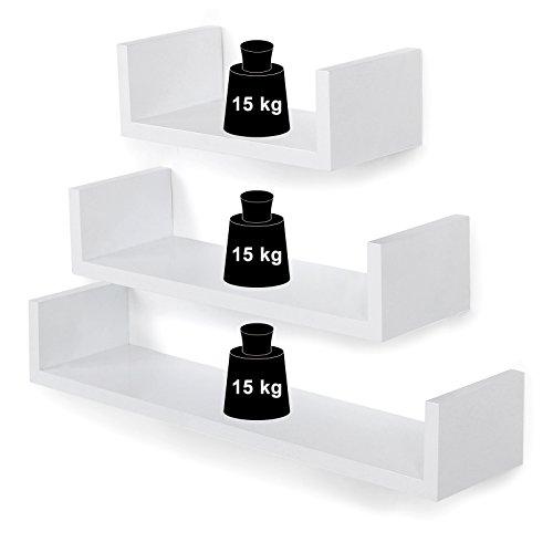 comprare on line SONGMICS Mensola a muro Set Da 3 Mensole da Parete Scaffale MDF, 60/45/30 cm, Carico Massimo 15 kg, Bianco LWS66W prezzo