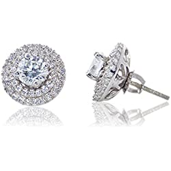 Silver Dew Jewelry Ladies Women Girls Halo Earring Pure 925 Sterling Silver Base Metal CZ Diamond Rhodium Plated