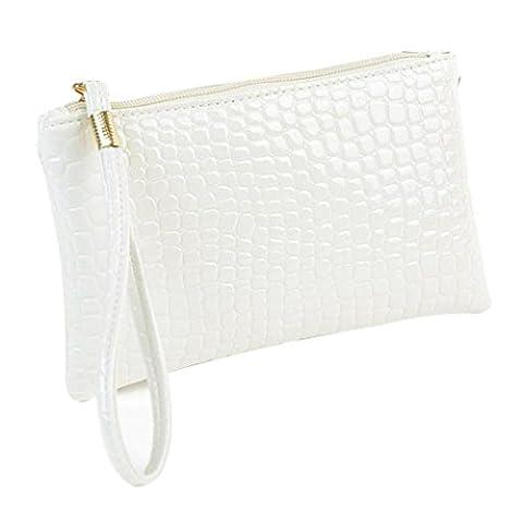 LHWY Women Crocodile Leather Clutch Handbag Bag Coin Purse (cream)