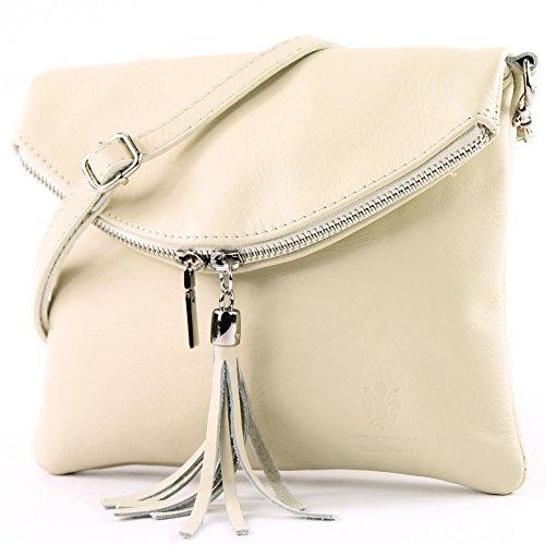 Creme Leder Handtasche (modamoda de - T139 - ital Umhängetasche Klein aus Nappaleder, Farbe:T139 Creme)
