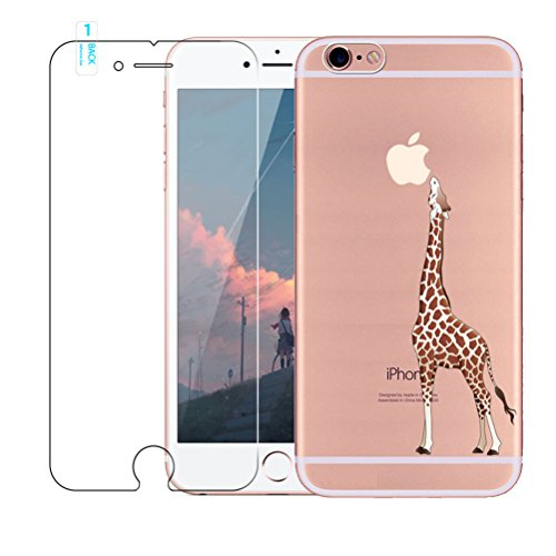 iPhone 6/6S case [with free tempered glass Screen Protector], BLOSSOM01 ultra sottile in gel morbido TPU silicone cover con cover per iPhone 6/6S, Chrysanthemum, iPhone 6 / 6S Giraffe