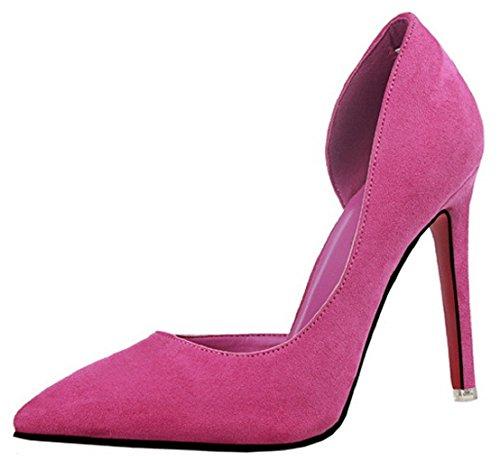 HooH Femmes D'Orsay Pointed Toe Stiletto Escarpins 952-8 Rose Rouge