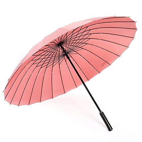 Ombrello da esterno per uomini e donne antivento in acciaio con manico lungo in fibra di vetro antivento (color : pink)