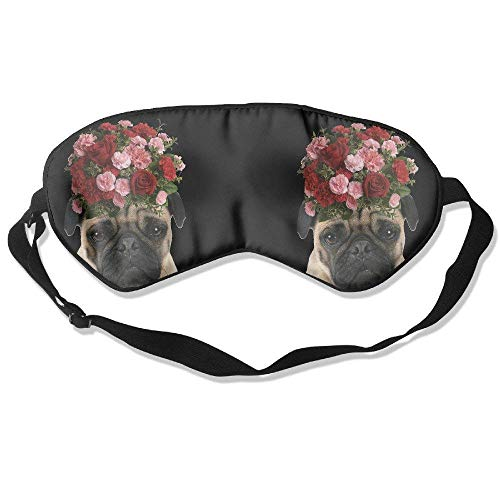 (Sleeping Eye Mask Pug Puppy Pet Roses Natural Silk Eye Mask Cover Adjustable Strap)
