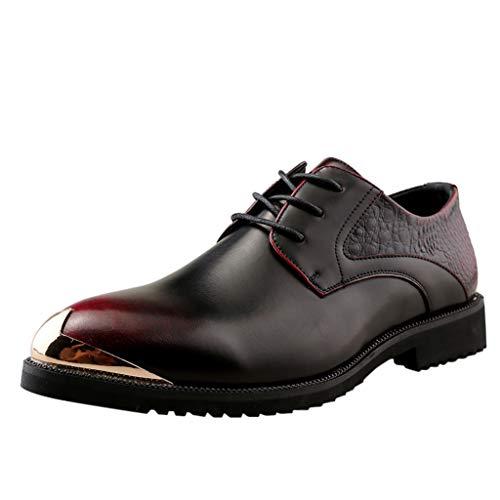 Scarpe Uomo Pelle, Stringate Derby Basse Elegante Sera Oxford Scarpe Casual da Uomo Nuove sul Posto di Lavoro Scarpe Casual A Punta