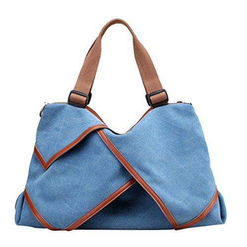 ZKOO Damen Vintage Schultertasche Canvas Grosse Kapazität Tragetasche Shopper Umhängetasche Handtasche Freizeit Reisen Tasche Blau