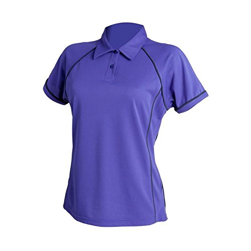 FINDEN & Hales Frauen Piped Polo Violett/Marineblau
