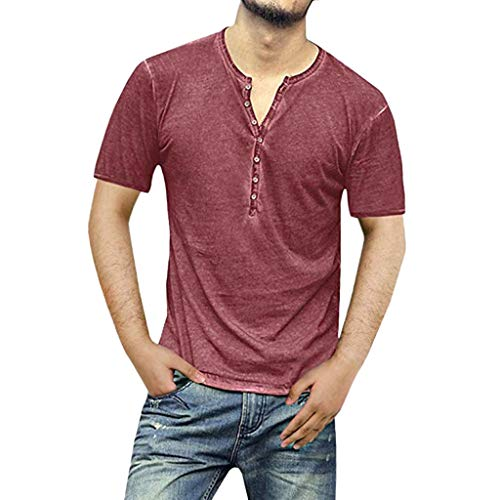 SSUPLYMY T-Shirt Herren,Slim Cotton Solid Kurzarm V-Ausschnitt Knopf T-Shirts Tops Bluse Einfarbig Slim Fit Kurzarm Pullover T-Shirt Kurze Ärmel Sweatshirt Lässige Kurzärmelige Bolero Dessert
