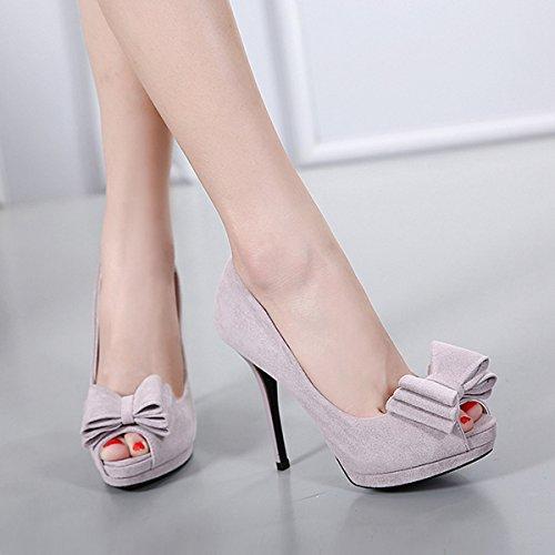 Damen Peep-toe Pumps Slip mit Bogen Stilettos Nubukleder High Heels Süß Modisch Schuhe Grau