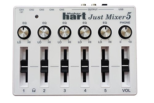 JUST MIXER 5 mit Bluetooth - Kompakter, USB-betriebener Stereo Desktop-Mixer Mischpult mit 5 Ein- (3,5mm / Bluetooth auf CH1) und 3 Ausgängen (3,5mm / RCA/USB)