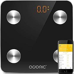 Báscula Grasa Corporal Bluetooth [2018 Versión Regalos Navidad] Más de 8 Funciones, Monitores de composición corporal Para Móviles Andriod y iOS (Negro)