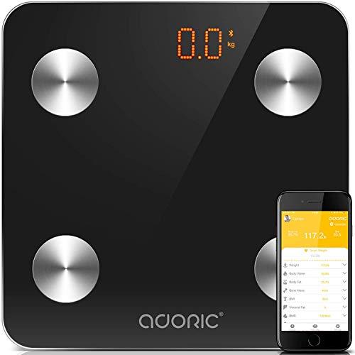 Báscula Grasa Corporal Bluetooth Más de 8 Funciones, Báscula Analógica Monitores de composición corporal Para Móviles Andriod y iOS (Negro)