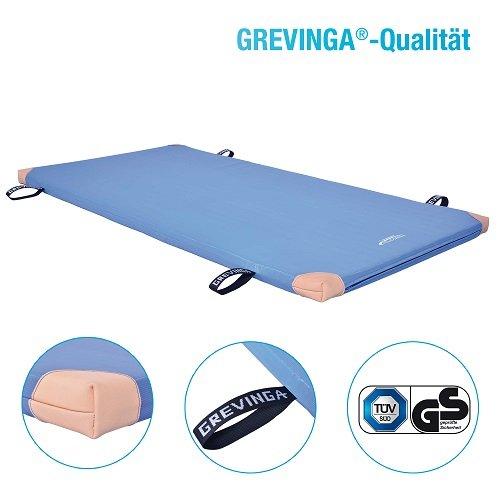Grevinga FUN-Turnmatte SUPER Soft (RG 22 - sehr weich) (BLAU 200 x 100 x 8 cm) mit Lederecken UND Trageschlaufen