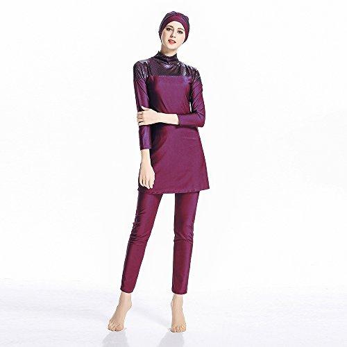 ziyimaoyi konservative Muslimische Bademode Islamischer Badeanzug Frauen Hijab Bademode volle Abdeckung Bademode Muslim SurfBeachwear Badeanzug, rot, M - 3