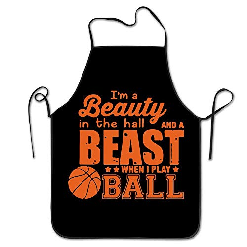 But why miss When I Play Basketball Colorful Baking Apron for Tailgating BBQ Grill Pit Master Black (Mr Grill-tools)