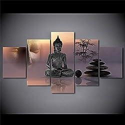 aicedu Decoración del hogar Sala de Estar HD Impreso Arte Moderno en la Pared 5 Paneles Zen Buda Estatua Pintura de Piedra Cuadros modulares Lienzo del Marco (Sin Marco)