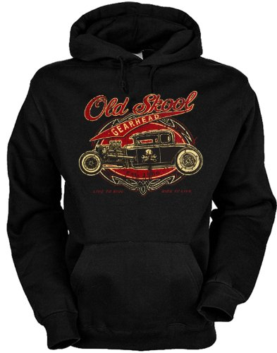 geiler Hoody mit Hot Rod Motiv - Old skool gearhead - Größe: S - 3XL Farbe: schwarz Old Skool Rod