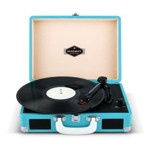 Auna Peggy Sue Giradischi per vinili vintage con valigetta portatile ed altoparlanti integrati (2 casse, USB, 3 misure per i dischi) azzurro