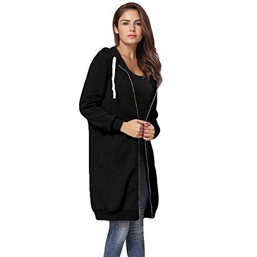 Romacci Damen Kapuzenpullover Lange Kapuzenpullis Beiläufiger Taschen Hoodie Pullover, Schwarz, XL
