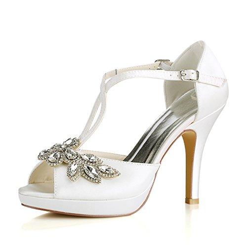Emily Bridal Brautschuhe Elfenbein Hochzeit Schuhe Peep Toe Strass Criss Cross Brautschuhe High Heel Sandaletten (EU35, Elfenbein) -