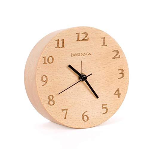 HURONG168 Stiller Wecker Wecker aus massivem Holz, Silent-Log-Bett Schreibtisch Student Kinder kreative einfache kleine Pendeluhr aus Holz Reisewecker -