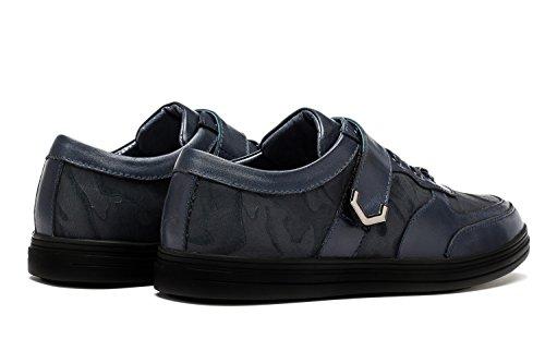 OPP Sneaker en Cuir Chaussures de Loisir A Lacets Pour Hommes Bleu