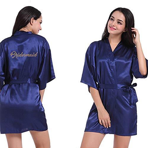 Techwills Brautparty-Robe, Buchstabe Bridesmaid auf dem Nachthemd Zurück Kurze Satin Hochzeit Kimono Nachtwäsche Spa-Roben für Damen -
