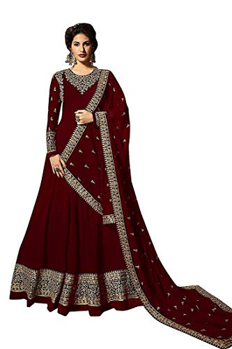 Monika Silk Mill Women\'s Latest Maroon Color Georgette heavy Embroidered Wedding Collection Semi Stitched Gown Style Anarkali Salwar Suit Dress Materials