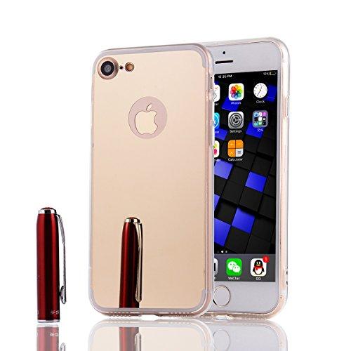 iphone X Hülle,Xinyunew Silikon Spiegel Mirror Schutzhülle für iphone X Case Crystal Schwarz Durchsichtige TPU Bumper iphone X Handyhülle [Geschenk:2.5D Panzerglasfolie Displayschutzfolie für iphone X Gold