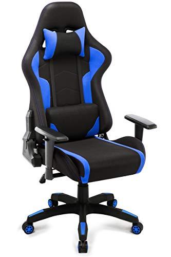 IntimaTe WM Heart Gaming Stuhl, Racing Bürostuhl Computerstuhl Ergonomischer Stoff Hoch Rücken Liegestühle Drehstuhl (Blau)