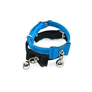 Lvcky Adjustable Safety Pet Dog Cat Collar Kitten Velvet Bow Tie Soft Bowtie Bell Sound Necklace Gift Blue(Blue )