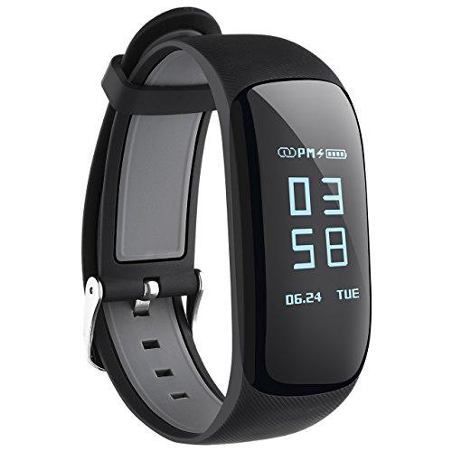 Bluetooth 4,0 Fitness Armband, Herzfrequenz Tracker GPS Schrittzähler Smart Bracelet mit Countdown-Funktion, Pulsmesser, Schlafmonitor, SMS Anrufe Reminder(IP67 wasserdicht 0.96 inch)
