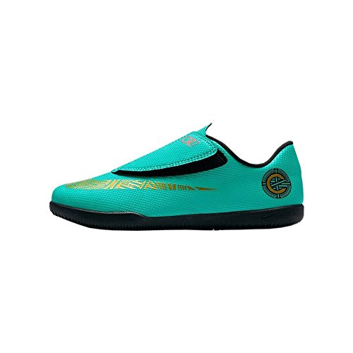 Botas Futbol Nike CR7 Jr. Vapor 12 Club Suela Lisa Verde Dorado Niño 2855289379b82