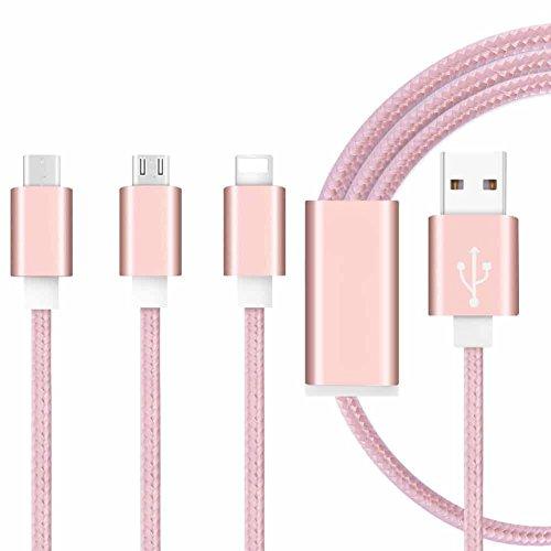 ONX3 (Rose Gold) Premium-Qualität 1 Meter Länge 3 in 1 Mehrere USB-Ladekabel High-Speed-Nylon Geflochten mit Typ C / 8 Pin Lighting / Micro USB-Anschluss für Lenovo S5000 7