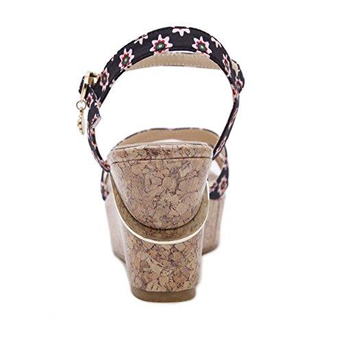 COOLCEPT Damen Sweet Knochelriemchen Riemchen Sandalen Keilabsatz Open Toe Slingback Schuhe Mehrfarbig
