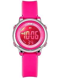 Relojes deportivos digitales para niñas Zeiger KW027 Rosa Reloj Niñas Reloj deportivo impermeable 5 ATM con cronómetro de alarma 6 luces traseras LED Reloj deportivo digitale para ninos