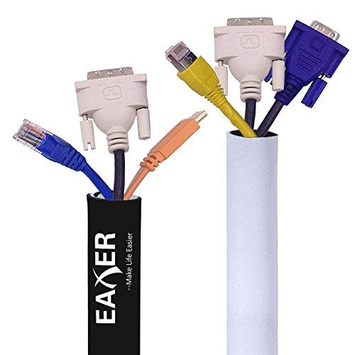 Preisvergleich Produktbild eaxer Kabel Management Ärmel, Klettverschluss verstellbar 200cm schwarz & weiß Kabel Tidy Wrap aus Premium Qualität Flexible Neopren, 1Stück