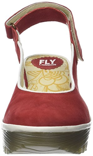Fly London Yipi831fly, Sandales Bride Arriere Femme Rouge (Lipstick Red/offwhite)