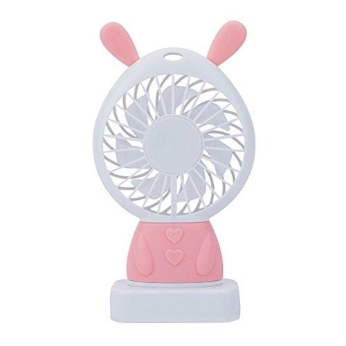 Kuke USB Ventilator mit LED Licht,Häschen Form,Mini Tragbar Fan PC, MAC, Notebook optimal für Büro, Zuhause und Heiße Sommeraußen Reisen für den Schreibtisch, Schlafzimmer, Camping Rosa