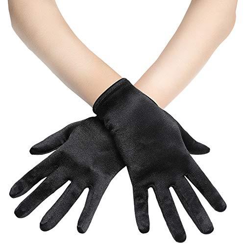 Handschuhe Satin Kostüm - Coucoland Damen Handschuhe Satin Classic Opera Fest Party Audrey Hepburn Handschuhe 1920s Handschuhe Damen Lang Kurz Elastisch (Schwarz/22cm)