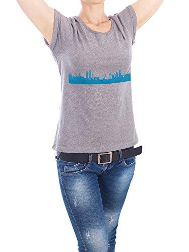 """Design T-Shirt Frauen Earth Positive """"ROTTERDAM 05 Skyline Print monochrome Teal"""" - stylisches Shirt Abstrakt Städte Städte / Weitere Architektur von 44spaces Grau"""