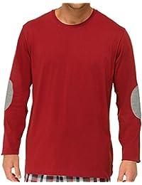 SCHIESSER Herren T-Shirt, Langarm, Rundhals, Schlafanzugsjacke, Mix & Relax, rot oder grau, 140045
