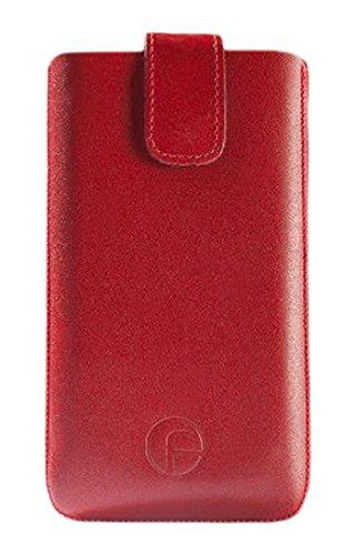 Emporia Elegance V35 / Emporia Elegance Plus (Seniorenhandy) / Original Favory Etui Tasche Leder Etui Handytasche Ledertasche Schutzhülle Case Hülle *mit Rückzuglasche* rot