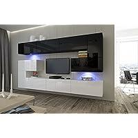 HomeDirectLTD Moderno Conjunto de Muebles para salón Albania combinación Blanco/Negro Brillante (AN3-17WB-HG22-1A, Sin LED)