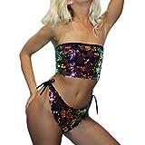 Alaso Bademode Damen auf Rechnung Sexy Frauen Paillette Push-Up Gepolsterter BH Strand Bikini Set Badeanzug Bademode (M, Multicolor)