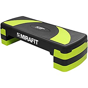 41OQffrS5bL. SS300  - Mirafit 3 Level Aerobic Exercise Stepper Board - Black/Green